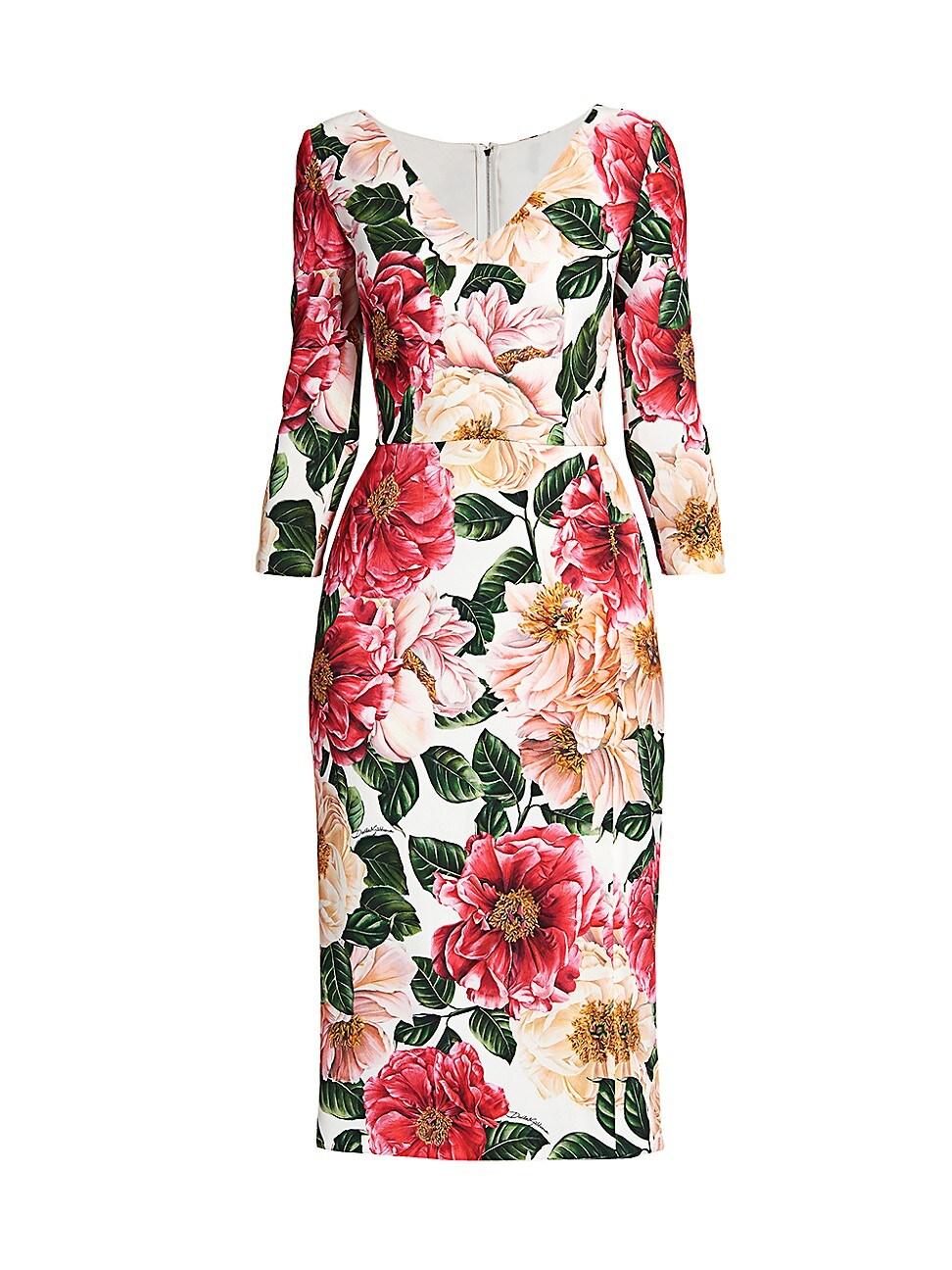 Dolce & Gabbana WOMEN'S FLORAL V-NECK CADY DRESS