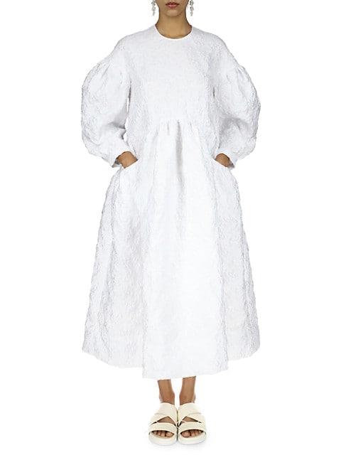 Drop Pocket Jacquard Smock Dress