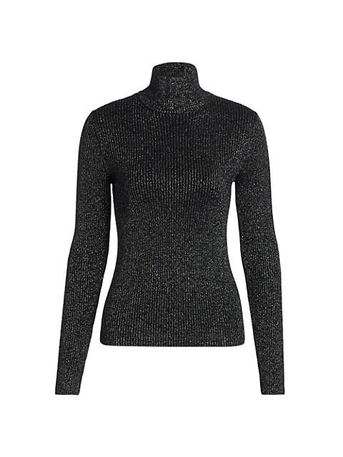 60s Slim Metallic Wool-Blend Knit Turtleneck