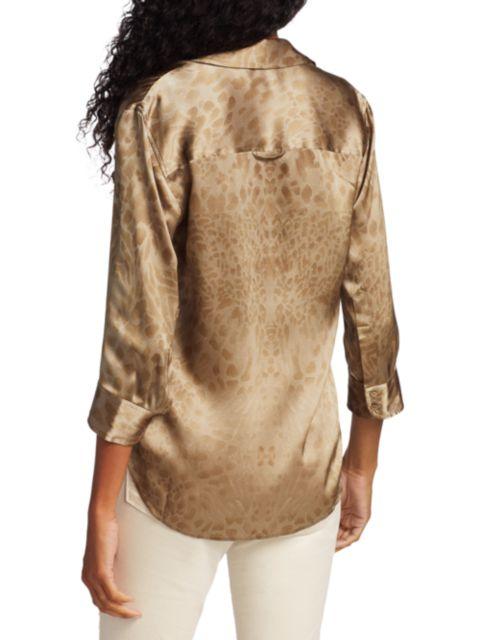 L'Agence Dani Three-Quarter Sleeve Silk Blouse   SaksFifthAvenue