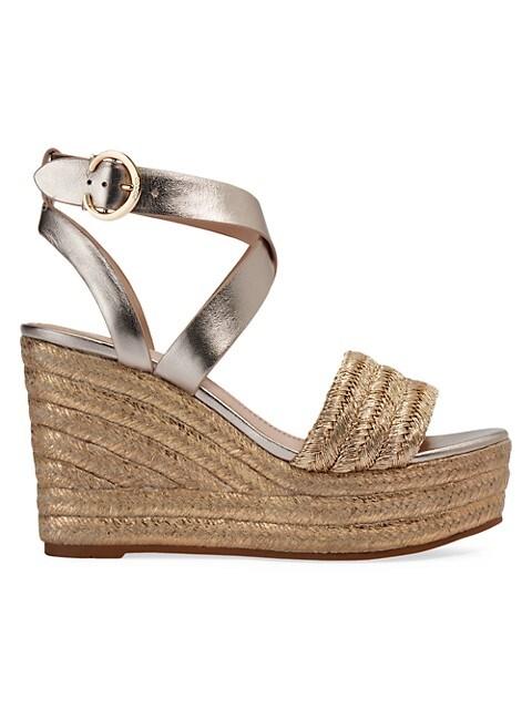 Isabela Metallic Leather Platform Wedge Sandals