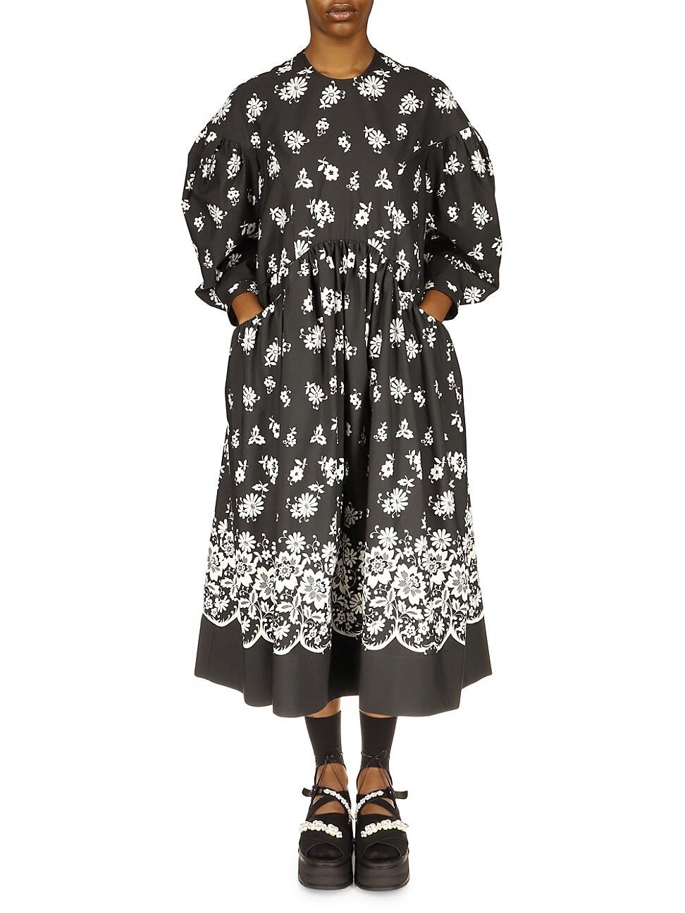 Simone Rocha WOMEN'S DROP POCKET PRINTED SMOCK DRESS
