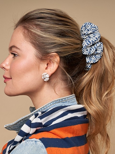 Striped Daisy Oversized Scrunchie