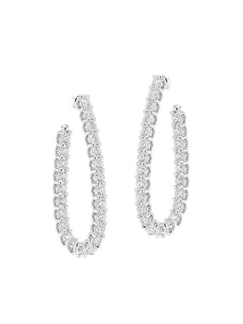 18K White Gold & Diamond Inside-Out Pear Hoop Earrings