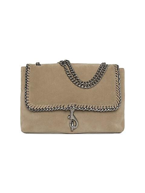 Edie Chain-Trimmed Suede Shoulder Bag