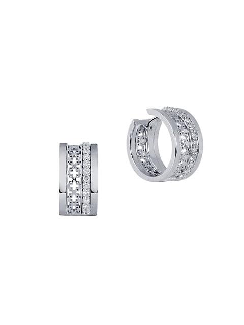 Muse 18K White Gold & Diamond Huggie Hoop Earrings