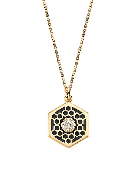 Bee Chic 18K Yellow Gold, Diamond & Black Enamel Medium Hexagon Pendant Necklace