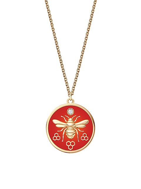 Bee Chic 18K Yellow Gold & Red Enamel Large Round Pendant Necklace