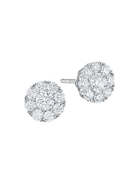 Snowflake 18K White Gold & Diamond Round Stud Earrings