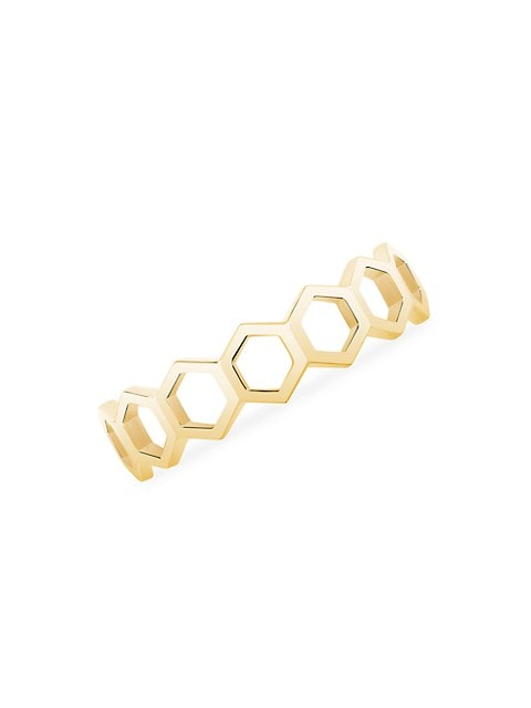 Bee Chic 18K Yellow Gold Hexagon-Link Stack Ring
