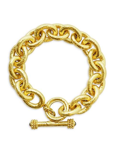 Hammered 19K Yellow Gold & Diamond Chunky-Link Toggle Bracelet