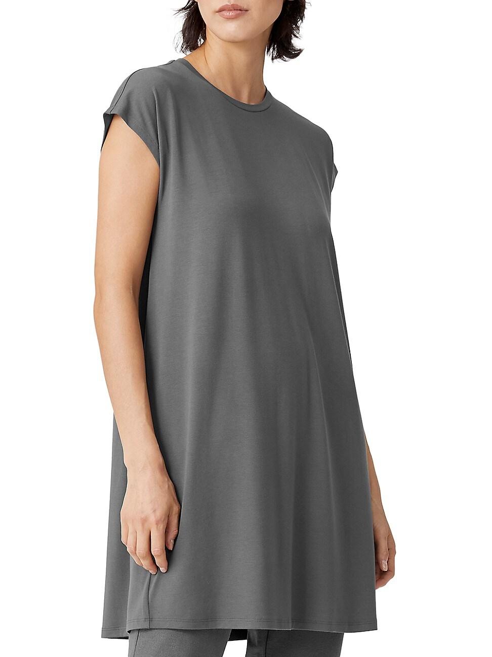 Eileen Fisher Dresses WOMEN'S CREWNECK SHORT BOXY DRESS
