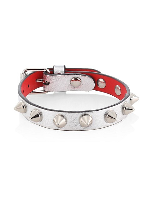Loubilink Spiked Metallic Leather Bracelet