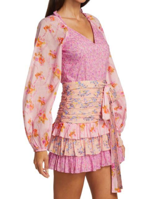 LoveShackFancy Rina Mixed Print Ruffle Mini Dress | SaksFifthAvenue