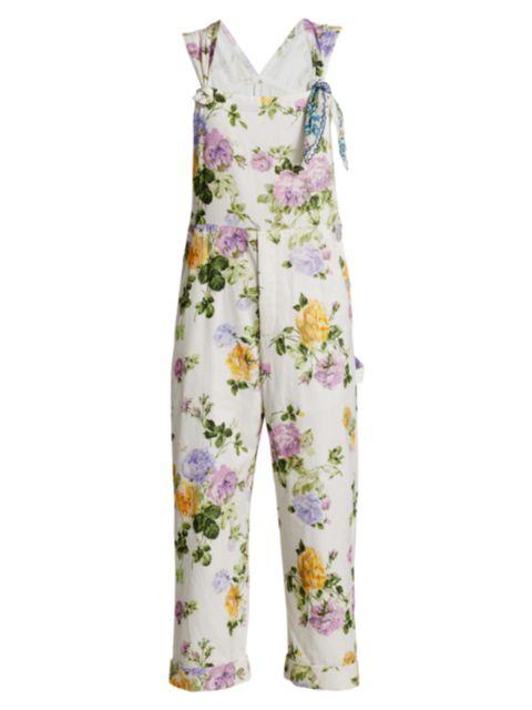 LoveShackFancy Daffy Printed Floral Overalls | SaksFifthAvenue