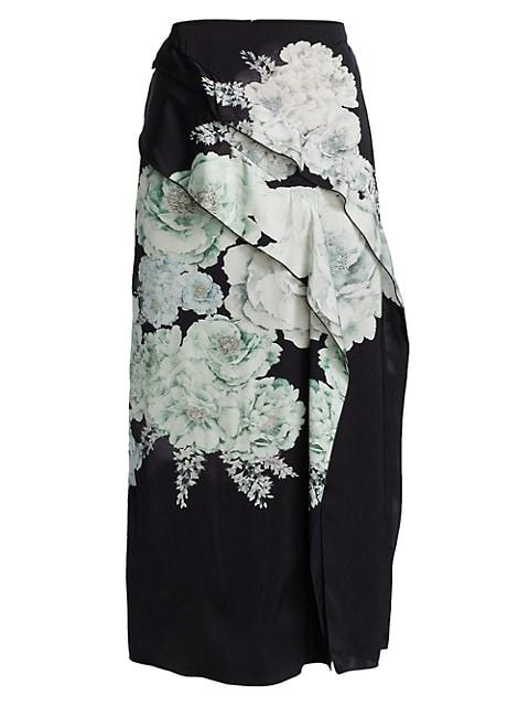 Bouquet Floral Satin Slit Skirt
