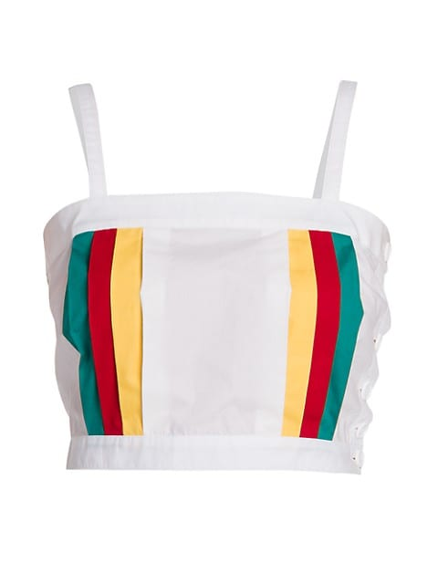 Multicolor Side-Stripe Crop Tank Top