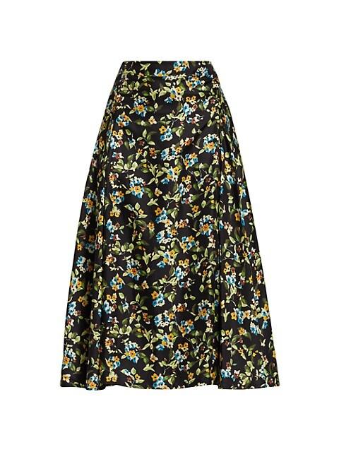 Victoria Beckham Black Floral Silk A-Line Skirt