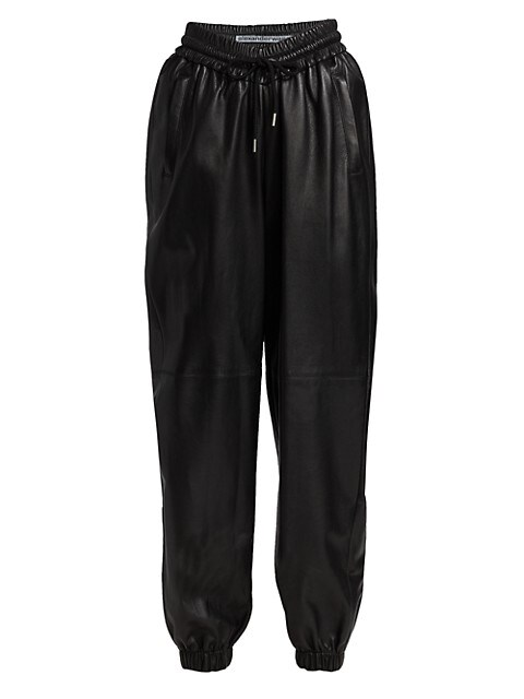 High-Rise Dipped Front Leather Joggers
