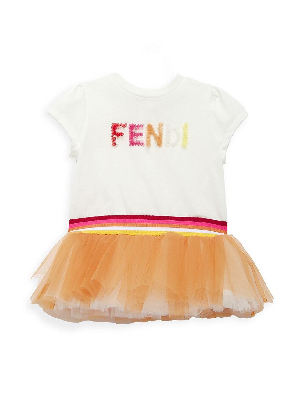 Fendi BABY GIRL'S LOGO TULLE T-SHIRT DRESS
