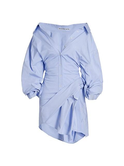 Voluminous Cinched Waist Shirtdress