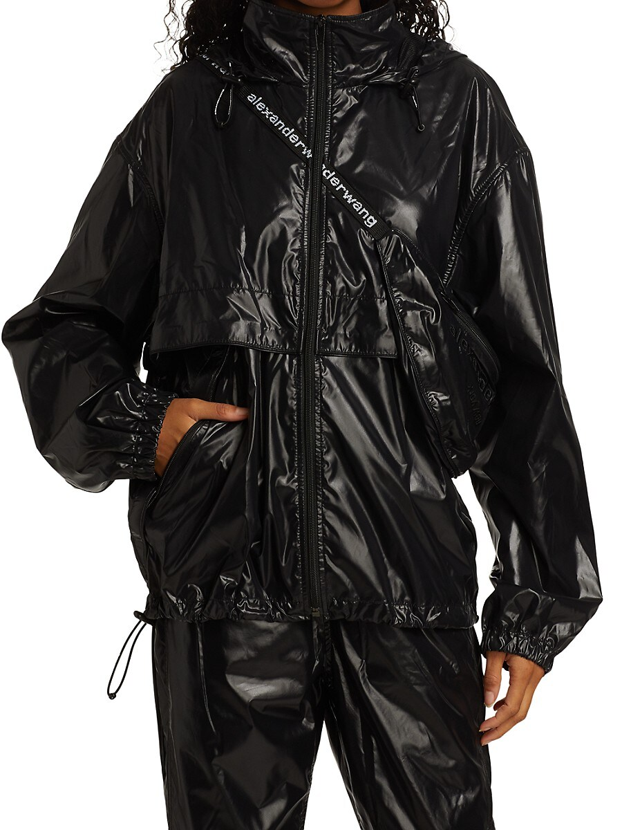 ALEXANDER WANG Jackets WOMEN'S ZIP FRONT JACKET WITH INTEGRATED FANNY PACK