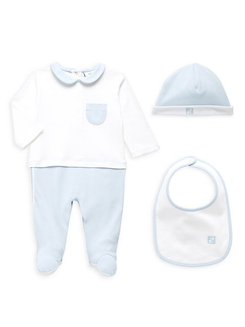 Baby Boy's 3-Piece Footie, Hat & Bib Set