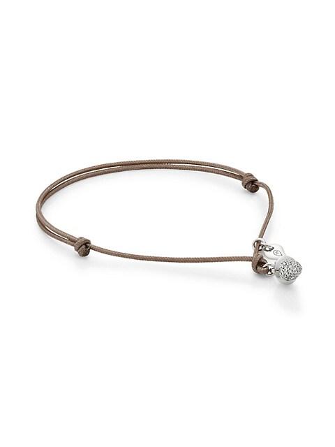 My Mikado 18K White Gold & Diamond Pavé Acorn Sliding Knot Cord Bracelet