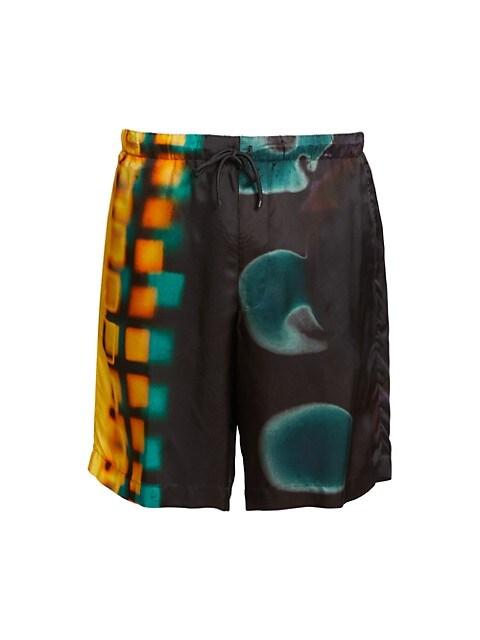 Piperi Abstract Graphic Drawstring Viscose Shorts