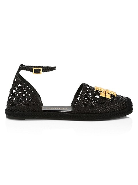 Tory Burch Eleanor Woven Leather dOrsay Espadrille Sandals