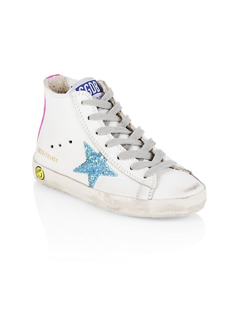 Girl's Francy Leather Glitter Star High-Top Sneakers