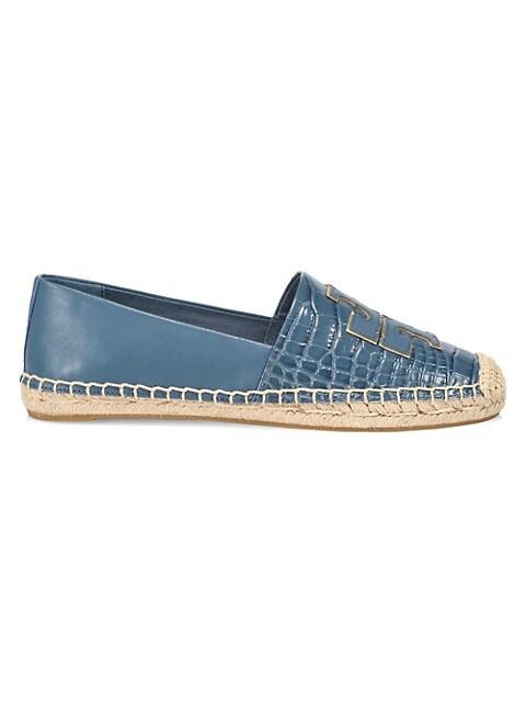 Tory Burch Ines Croc-Embossed Leather Espadrilles