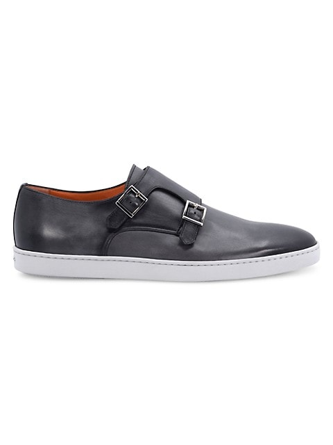 Ralphie Monk-Strap Leather Sneakers