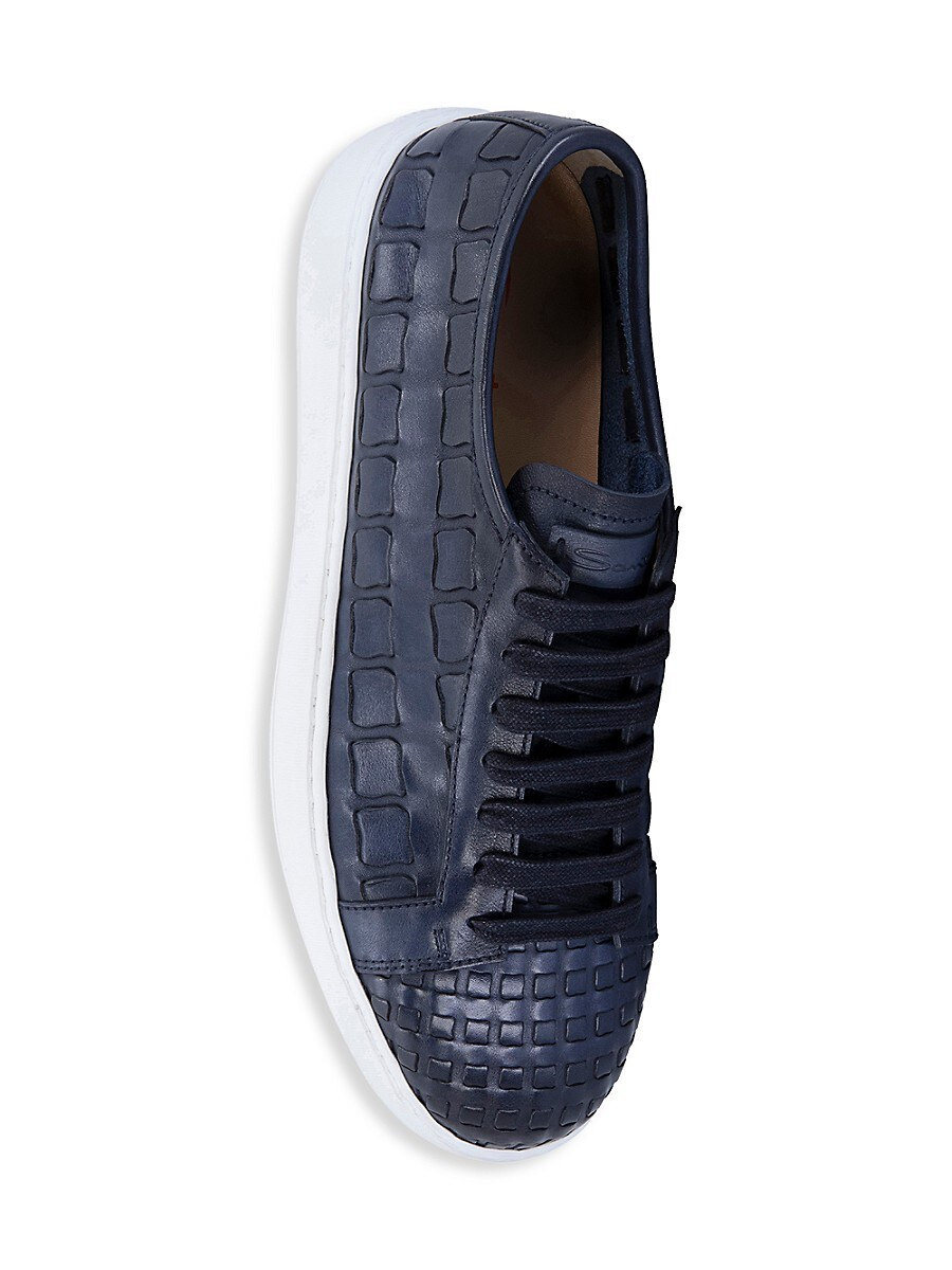 SANTONI Leathers MEN'S LACE-UP WOVEN LEATHER SNEAKERS