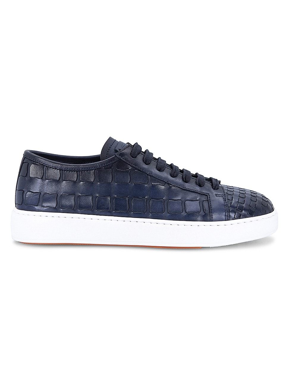 Santoni MEN'S LACE-UP WOVEN LEATHER SNEAKERS