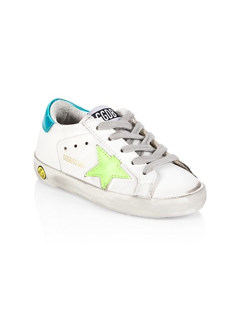 Kid's Superstar Leather Star Patch Low-Top Sneakers