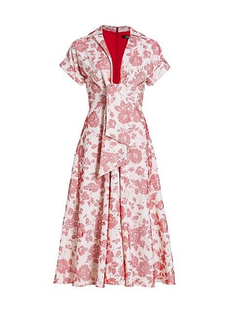 Floral Jacquard Tie-Waist Dress