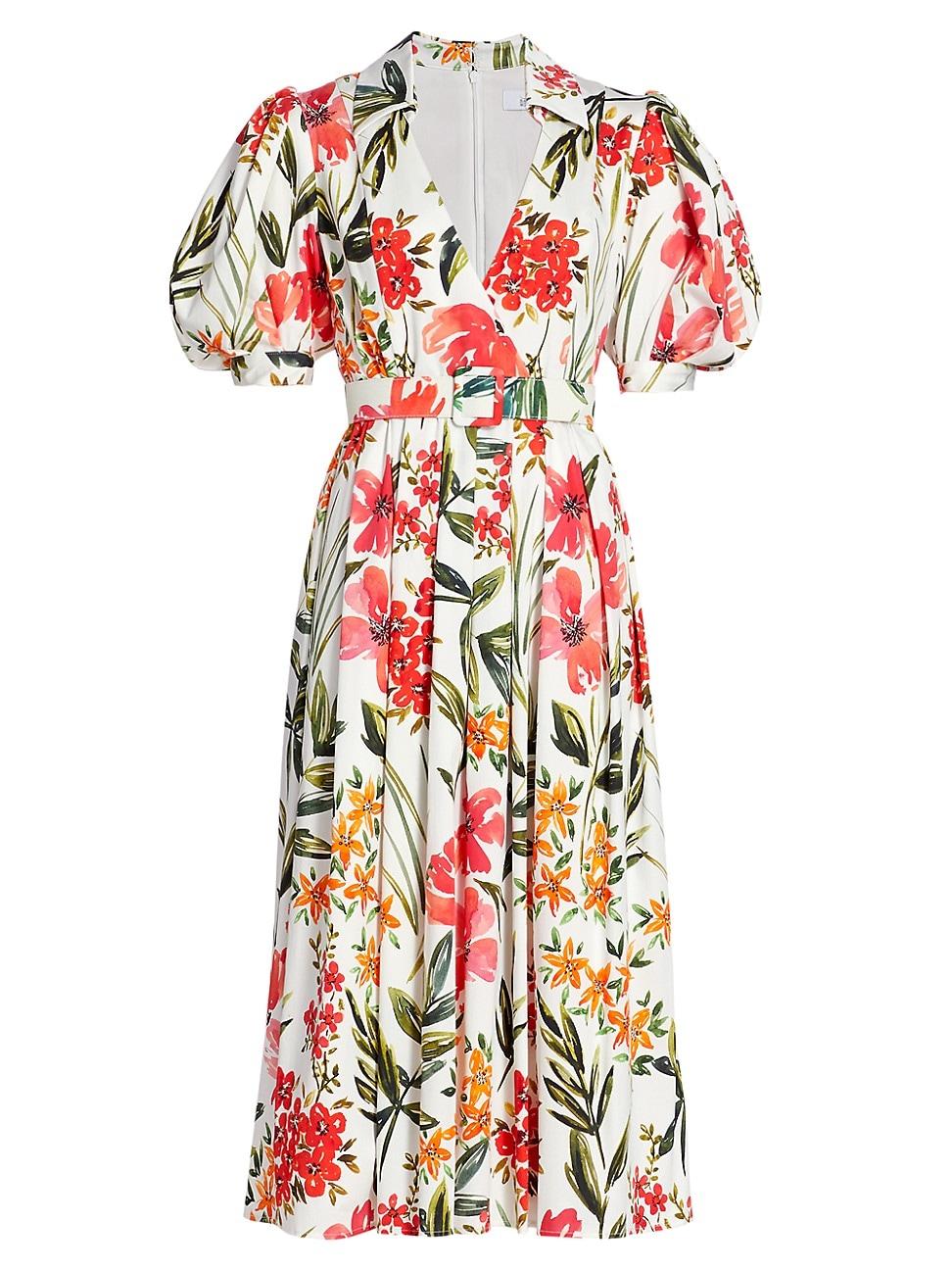 Badgley Mischka WOMEN'S FLORAL STRETCH-COTTON PUFF-SLEEVE DRESS