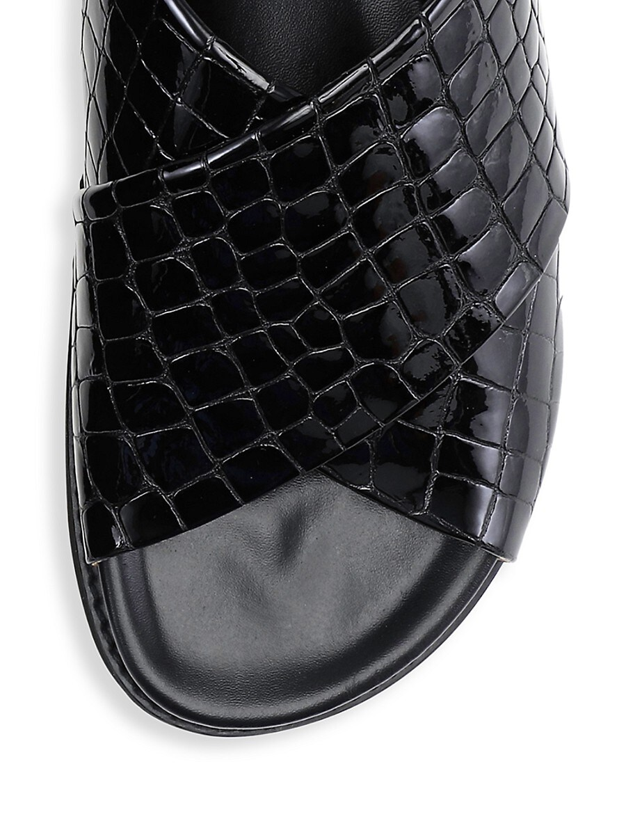 GANNI Leathers WOMEN'S CROC-EMBOSSED PATENT LEATHER CROSS STRAP SANDALS