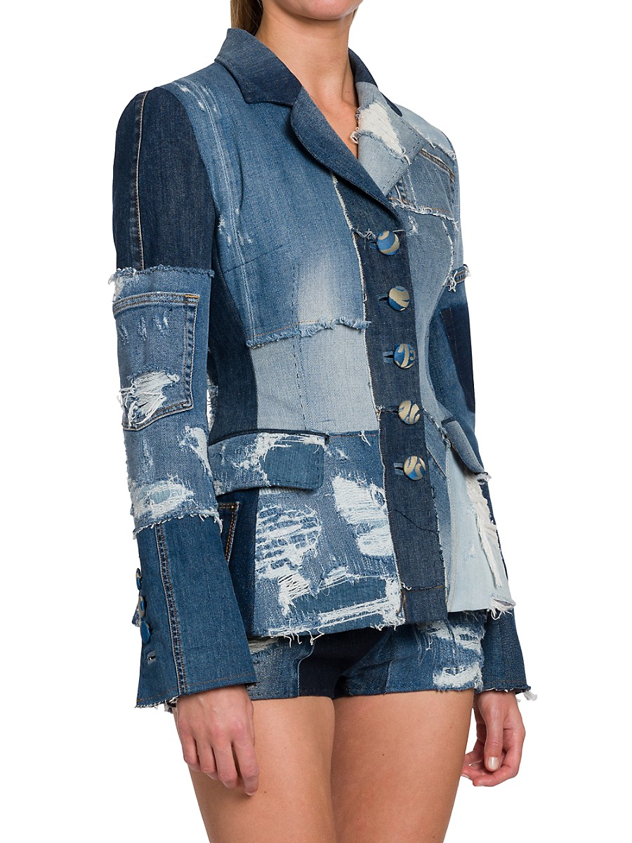 DOLCE & GABBANA Coats WOMEN'S DENIM PATCHWORK BLAZER