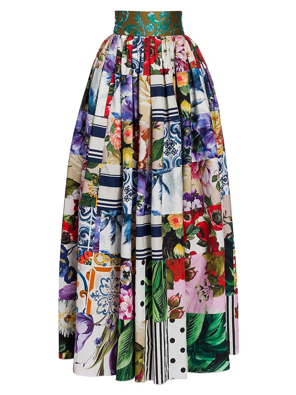 Dolce & Gabbana Cottons WOMEN'S PATCHWORK POPLIN MAXI FULL SKIRT