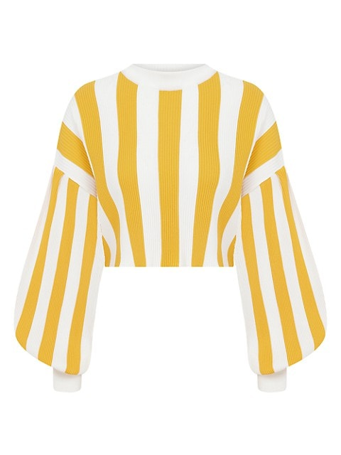 The Lake House Striped Knit Cropped Sweater