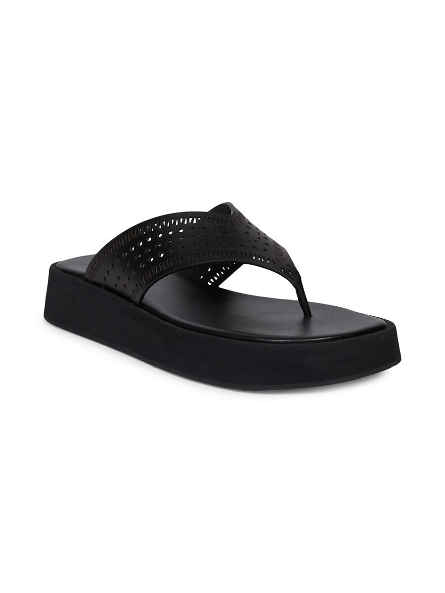 ALAÏA Leathers WOMEN'S PERFORATED LEATHER PLATFORM THONG SANDALS
