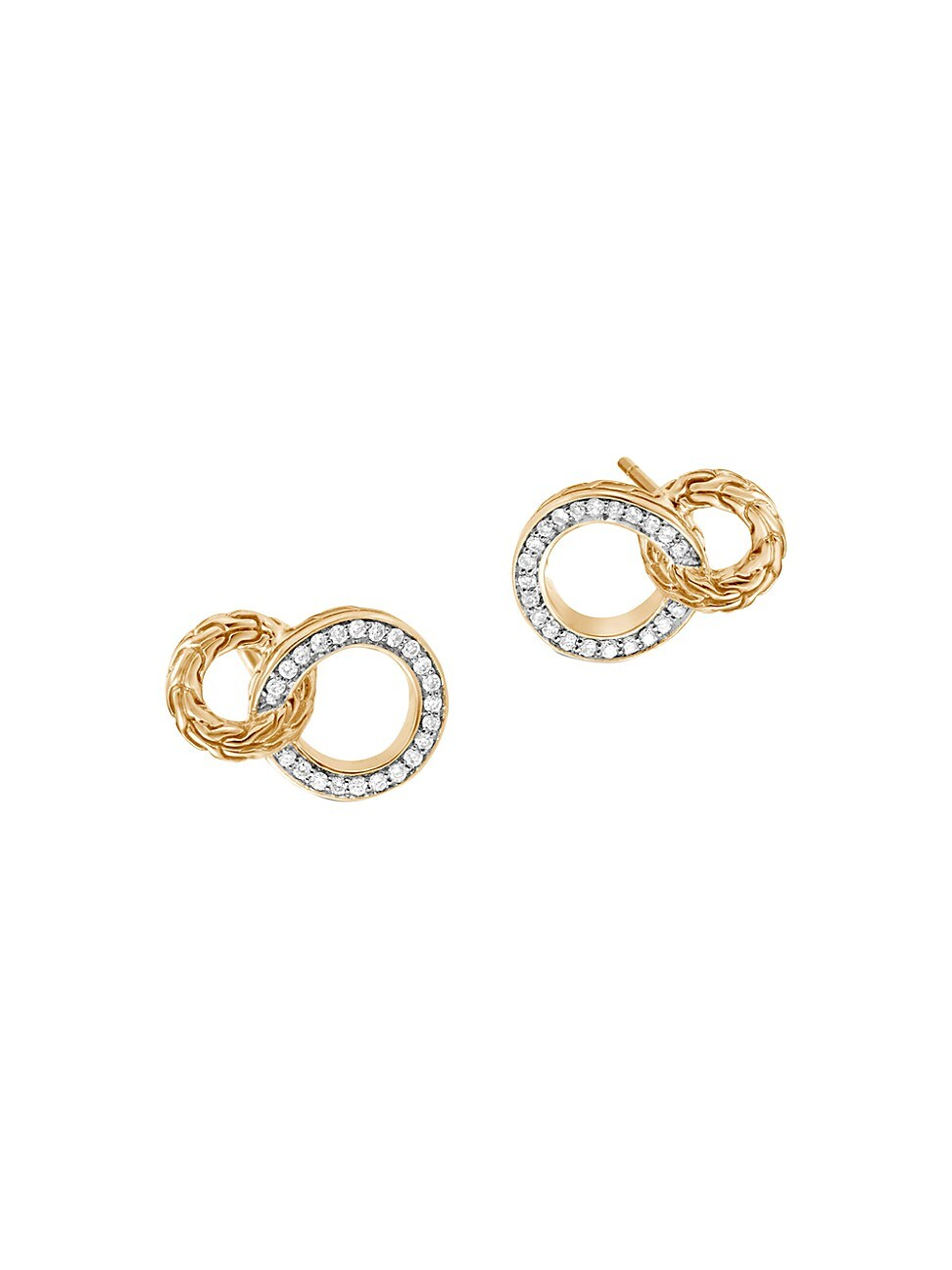 John Hardy Women's Classic Chain 18k Gold & Diamond Interlinking Hoop Earrings