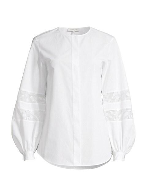 Austin Lace-Inset Puff-Sleeve Shirt