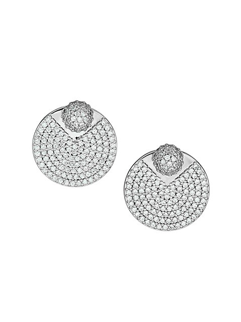 Spring Fling Sterling Silver & Cubic Zirconia Front-To-Back Disc Earrings