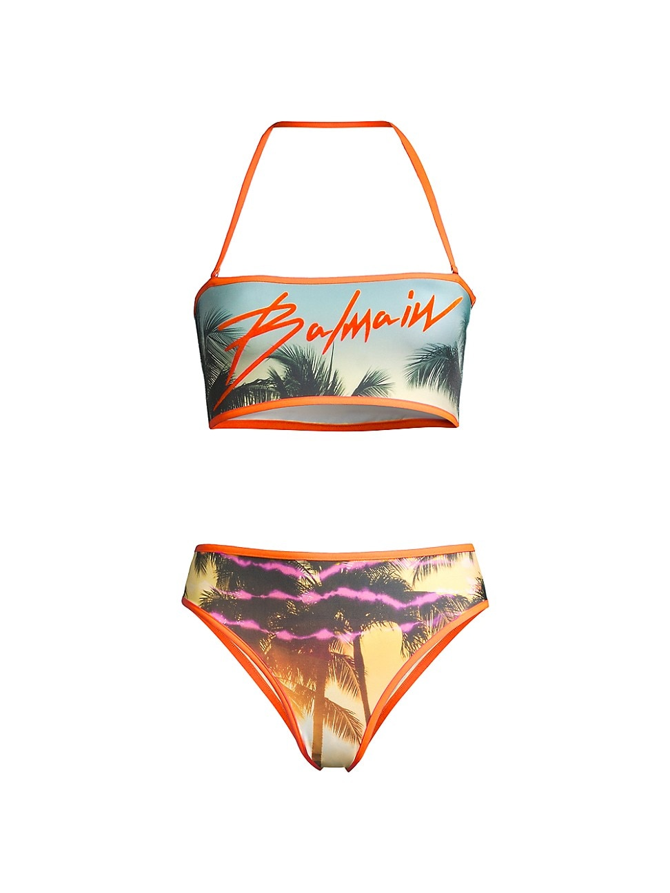 Balmain WOMEN'S PALM TREE 2-PIECE BANDEAU BIKINI SET