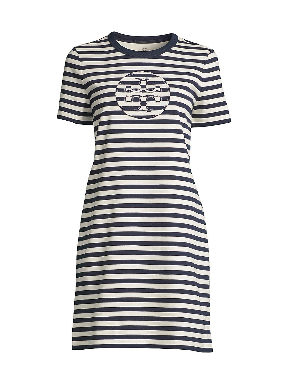Tory Burch WOMEN'S STRIPED LOGO T-SHIRT DRESS