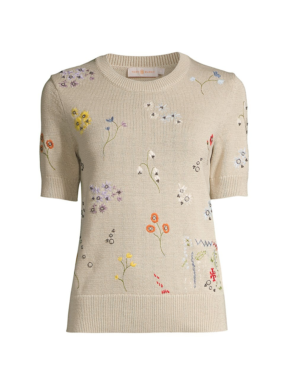 Tory Burch WOMEN'S FLORAL-EMBROIDERED KNIT T-SHIRT