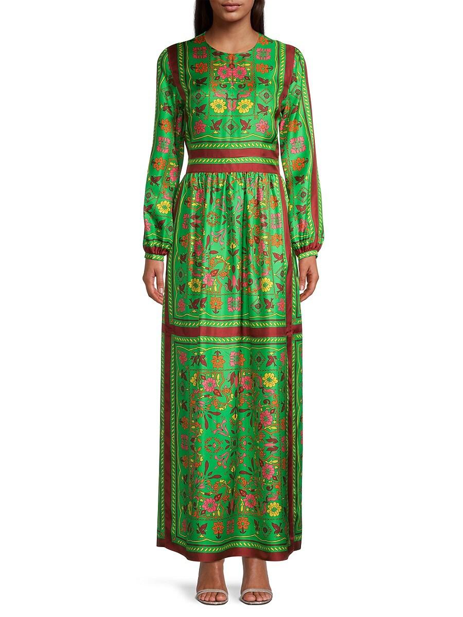 TORY BURCH Silks WOMEN'S FLORAL SILK SCARF MAXI DRESS